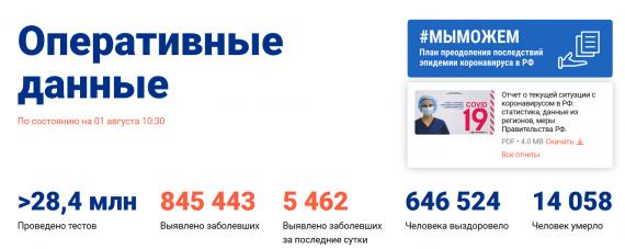 Число заболевших коронавирусом на 01 августа 2020 года в России