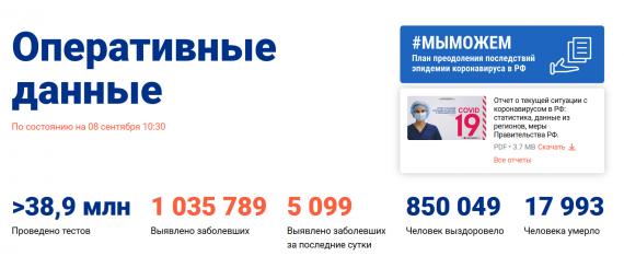 Число заболевших коронавирусом на 08 сентября 2020 года в России
