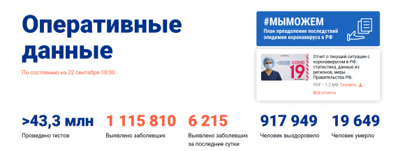 Число заболевших коронавирусом на 22 сентября 2020 года в России