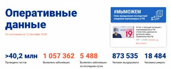 Число заболевших коронавирусом на 12 сентября 2020 года в России