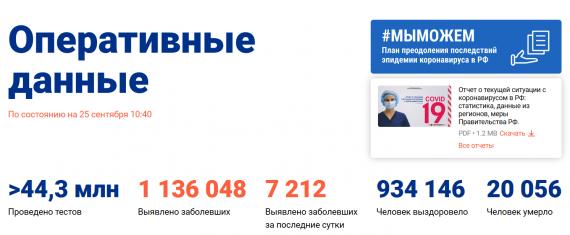 Число заболевших коронавирусом на 25 сентября 2020 года в России