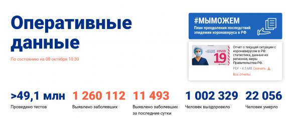 Число заболевших коронавирусом на 08 октября 2020 года в России
