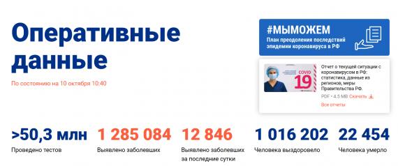 Число заболевших коронавирусом на 10 октября 2020 года в России