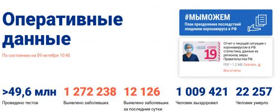 Число заболевших коронавирусом на 09 октября 2020 года в России
