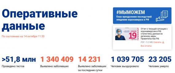 Число заболевших коронавирусом на 14 октября 2020 года в России
