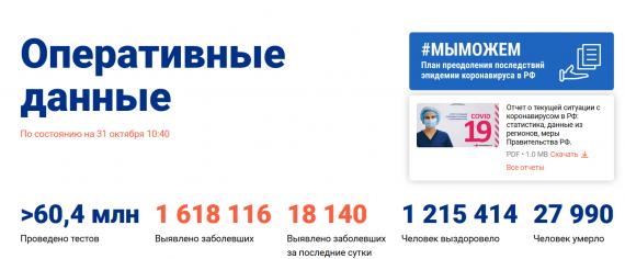 Число заболевших коронавирусом на 31 октября 2020 года в России