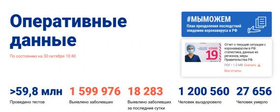 Число заболевших коронавирусом на 30 октября 2020 года в России