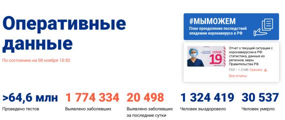 Число заболевших коронавирусом на 08 ноября 2020 года в России