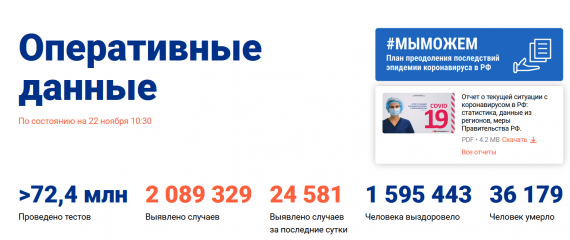 Число заболевших коронавирусом на 22 ноября 2020 года в России