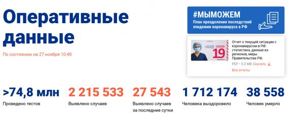 Число заболевших коронавирусом на 27 ноября 2020 года в России