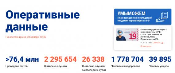 Число заболевших коронавирусом на 30 ноября 2020 года в России