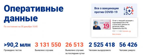 Число заболевших коронавирусом на 30 декабря 2020 года в России