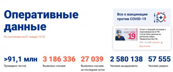 Число заболевших коронавирусом на 01 января 2021 года в России