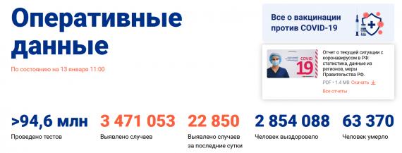 Число заболевших коронавирусом на 13 января 2021 года в России