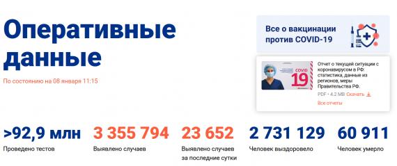 Число заболевших коронавирусом на 08 января 2021 года в России
