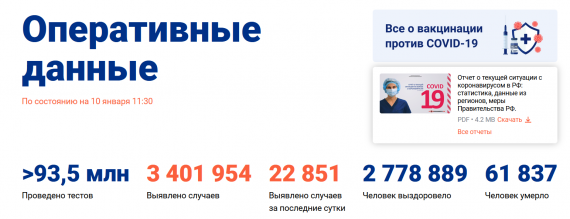 Число заболевших коронавирусом на 10 января 2021 года в России