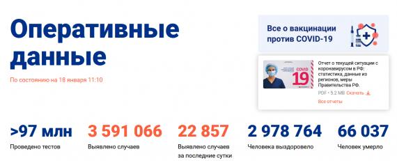 Число заболевших коронавирусом на 18 января 2021 года в России