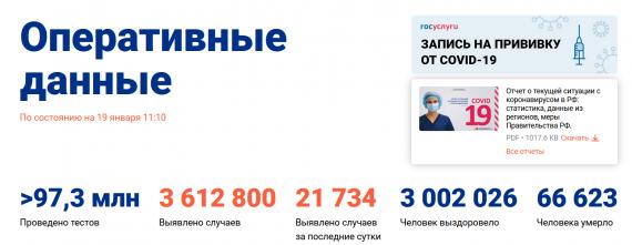 Число заболевших коронавирусом на 19 января 2021 года в России