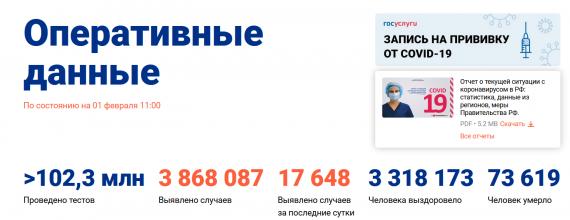 Число заболевших коронавирусом на 01 февраля 2021 года в России