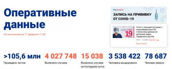 Число заболевших коронавирусом на 11 февраля 2021 года в России