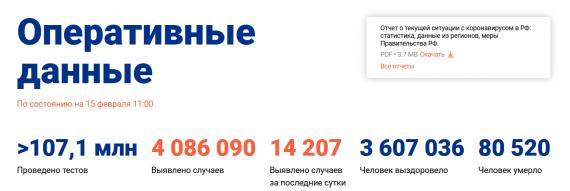 Число заболевших коронавирусом на 15 февраля 2021 года в России
