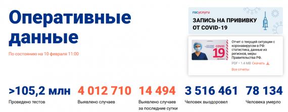 Число заболевших коронавирусом на 10 февраля 2021 года в России