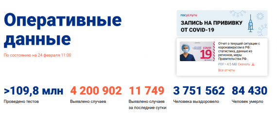 Число заболевших коронавирусом на 24 февраля 2021 года в России