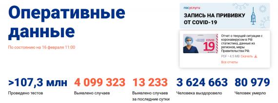 Число заболевших коронавирусом на 16 февраля 2021 года в России