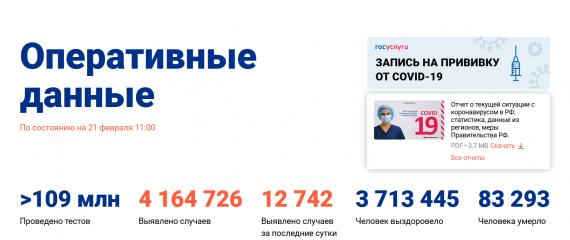 Число заболевших коронавирусом на 21 февраля 2021 года в России
