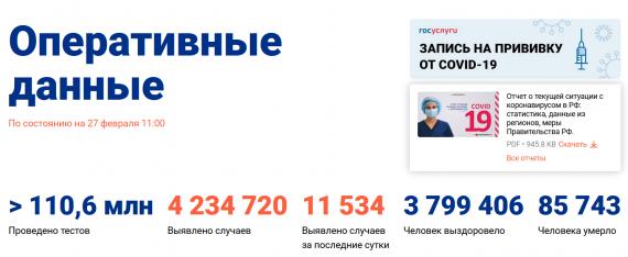 Число заболевших коронавирусом на 27 февраля 2021 года в России