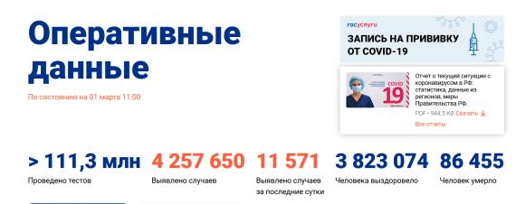 Число заболевших коронавирусом на 01 марта 2021 года в России