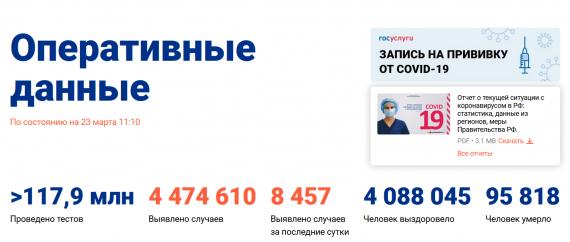 Число заболевших коронавирусом на 23 марта 2021 года в России