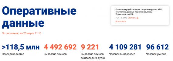 Число заболевших коронавирусом на 25 марта 2021 года в России