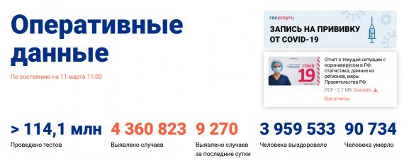 Число заболевших коронавирусом на 11 марта 2021 года в России