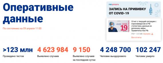 Число заболевших коронавирусом на 09 апреля 2021 года в России