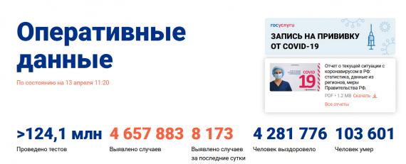 Число заболевших коронавирусом на 13 апреля 2021 года в России