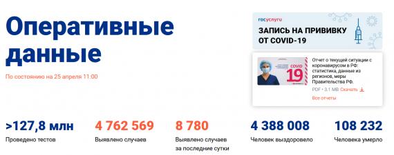 Число заболевших коронавирусом на 25 апреля 2021 года в России