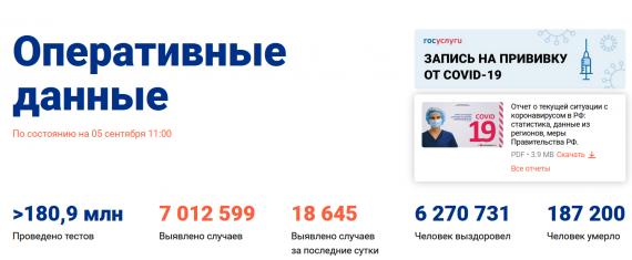 Число заболевших коронавирусом на 05 сентября 2021 года в России
