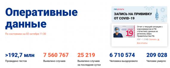 Число заболевших коронавирусом на 02 октября 2021 года в России